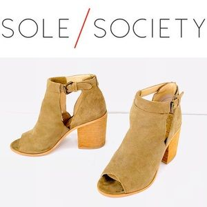 Sole Society Ferris Suede Peep Toe Booties Size 6